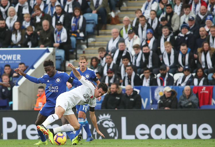 Leicester City's Wilfred Ndidi and Burnley's Jack Cork<br /> <br /> Photographer Rachel Holborn/CameraSport<br /> <br /> The Premier League - Saturday 10th November 2018 - Leicester City v Burnley - King Power Stadium - Leicester<br /> <br /> World Copyright © 2018 CameraSport. All rights reserved. 43 Linden Ave. Countesthorpe. Leicester. England. LE8 5PG - Tel: +44 (0) 116 277 4147 - admin@camerasport.com - www.camerasport.com