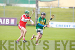 Kerry's Pa Joe Connolly and Derry's Conor Quinn in action at Austin Stack park, Tralee on Sunday