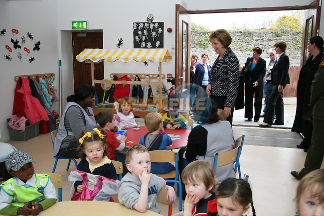 Mary McAleese talks to the children when visiting Grove Early Years Centre and Holy Family Centre in Ballsgrove...Photo NEWSFILE/Jenny Matthews.(Photo credit should read Jenny Matthews/NEWSFILE)....This Picture has been sent you under the condtions enclosed by:.Newsfile Ltd..The Studio,.Millmount Abbey,.Drogheda,.Co Meath..Ireland..Tel: +353(0)41-9871240.Fax: +353(0)41-9871260.GSM: +353(0)86-2500958.email: pictures@newsfile.ie.www.newsfile.ie.FTP: 193.120.102.198.