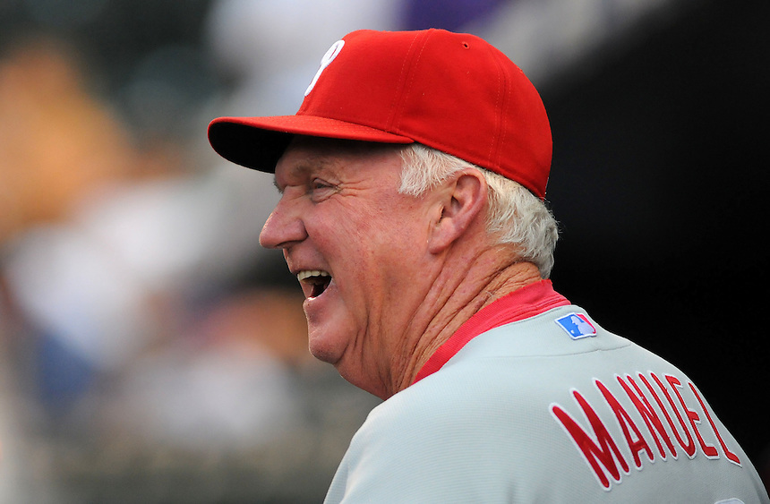 02 AUGUST 2011: Philadelphia Phillies manager Charlie Manuel (41) smiles in the dugout during a regular season game between the Philadelphia Phillies and the Colorado Rockies at Coors Field in Denver, Colorado. The Phillies beat the Rockies 5-0. *****For Editorial Use Only*****