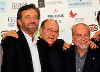 Giornate Professionali del Cinema 2014     <br />  ,Christian de Sisa   Carlo Verdone, aurelio de laurentiis,  during the professional days of cinema in Sorrento december 03 , 2014