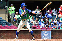 Lexington Legends outfielder Fred Ford (19) at bat during a game against the Hagerstown Suns on May 19, 2014 at Whitaker Bank Ballpark in Lexington, Kentucky.  Lexington defeated Hagerstown 10-8.  (Mike Janes/Four Seam Images)