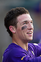 LSU Tigers shortstop Alex Bregman (30) in the dugout before the game against the Texas A&M Aggies in the NCAA Southeastern Conference on May 10, 2013 at Blue Bell Park in College Station, Texas. LSU defeated Texas A&M 7-4. (Andrew Woolley/Four Seam Images).