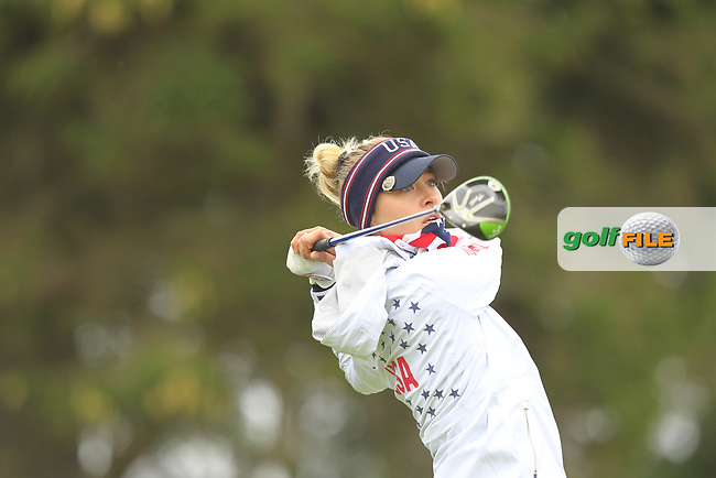 Nelly Korda (USA) on the 2nd tee during Day 3 Singles at the Solheim Cup 2019, Gleneagles Golf CLub, Auchterarder, Perthshire, Scotland. 15/09/2019.<br /> Picture Thos Caffrey / Golffile.ie<br /> <br /> All photo usage must carry mandatory copyright credit (© Golffile | Thos Caffrey)