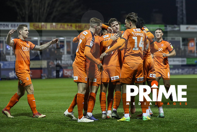 GOAL - James Justin of Luton Town (right) celebrates with team mates after he scores the opening goal during the Sky Bet League 1 match between Luton Town and Bradford City at Kenilworth Road, Luton, England on 27 November 2018. Photo by David Horn.