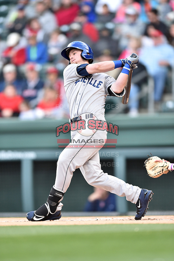 Asheville Tourists shortstop Brendan Rodgers (1) swings at a pitch during a game against the Greenville Drive at Fluor Field on April 7, 2016 in Greenville South Carolina. The Drive defeated the Tourists 4-3. (Tony Farlow/Four Seam Images)
