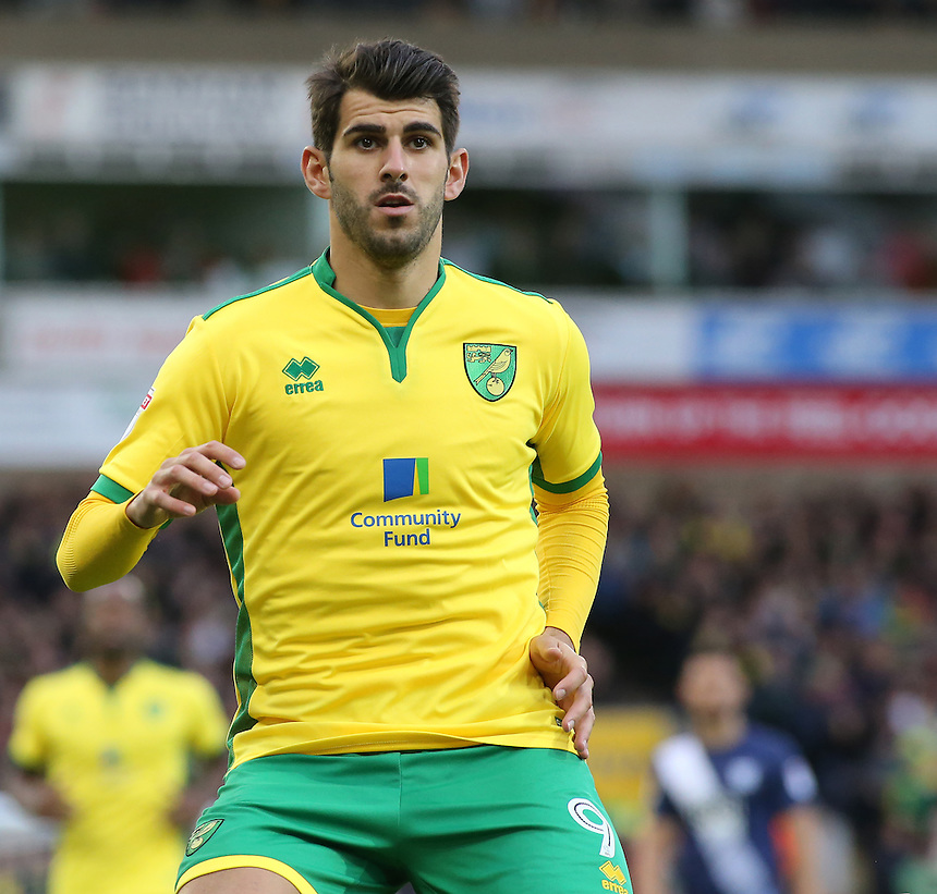 Norwich City's Nelson Oliveira in action during todays match  <br /> <br /> Photographer David Shipman/CameraSport<br /> <br /> The EFL Sky Bet Championship - Norwich City v Preston North End - Saturday 22nd October 2016 - Carrow Road - Norwich<br /> <br /> World Copyright &copy; 2016 CameraSport. All rights reserved. 43 Linden Ave. Countesthorpe. Leicester. England. LE8 5PG - Tel: +44 (0) 116 277 4147 - admin@camerasport.com - www.camerasport.com