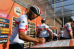 Fernando Gaviria (COL) UAE Team Emirates at sign on in Fortezza Medicea before the start of the 110th edition of Milan-San Remo 2019 running 291km from Milan to San Remo, Italy. 23rd March 2019.<br /> Picture: LaPresse/Gian Matteo D'Alberto | Cyclefile<br /> <br /> <br /> All photos usage must carry mandatory copyright credit (&copy; Cyclefile | LaPresse/Gian Matteo D'Alberto)