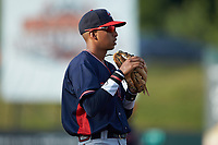Rome Braves third baseman Juan Morales (12) on defense against the Kannapolis Intimidators at Kannapolis Intimidators Stadium on July 3, 2019 in Kannapolis, North Carolina.  The Braves defeated the Intimidators 13-11, (Brian Westerholt/Four Seam Images)