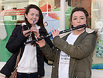 Aisling Clinton and Sarah Kierans performing on Laurence street for the visit of Fleadh Ceol Ard Comhairle to assess Drogheda in its bid to host the Fleadh Ceol 2015. Photo:Colin Bell/pressphotos.ie
