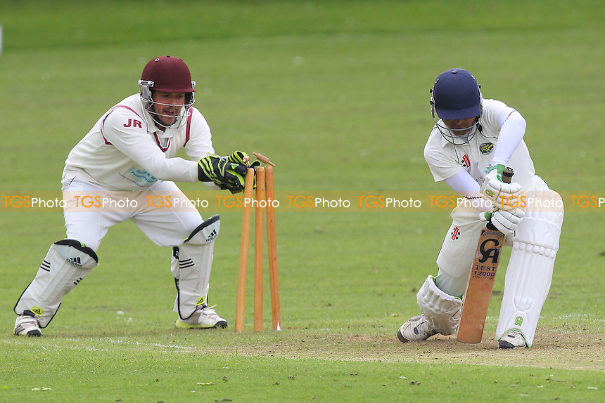 An attempt to stump Shahbaz Khan of Harold Wood - Harold Wood CC vs Brentwood CC - Essex Cricket League at Harold Wood Park - 10/05/14 - MANDATORY CREDIT: Gavin Ellis/TGSPHOTO - Self billing applies where appropriate - 0845 094 6026 - contact@tgsphoto.co.uk - NO UNPAID USE