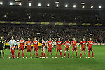 24.02.2011 Europa League Football from Anfield Liverpool v Sparta Prague. Liverpool players line up before kick off.