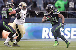Seattle Seahawks running back Marshawn Lynch (24) runs against the Orleans Saints during the NFL Western division playoff game at Centurylink Field in Seattle, Washington on January 11, 2014. Lynch rushed for 140 yards on 28 carries and scored two touchdowns as the Seahawks knock off the Saints 23-15 to hoist NFC Championship game.  ©2014. Jim Bryant Photo. ALL RIGHTS RESERVED.