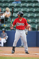 Birmingham Barons outfielder Jacob May (3) at bat during a game against the Biloxi Shuckers on May 24, 2015 at Joe Davis Stadium in Huntsville, Alabama.  Birmingham defeated Biloxi 6-4 as the Shuckers are playing all games on the road, or neutral sites like their former home in Huntsville, until the teams new stadium is completed.  (Mike Janes/Four Seam Images)