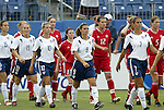 3 July 2004: U.S. starters (from left) Kate Markgraf, Kristine Lilly, Aly Wagner, Mia Hamm, Shannon Boxx; and Canada starters (from left) Brittany Timko, Kara Lang, Diana Matheson, Christine Sinclair, Randee Hermus, Andrea Neil; march onto the field for the start of the game. The United States beat Canada 1-0 at the The Coliseum in Nashville, TN in an womens international friendly soccer game..