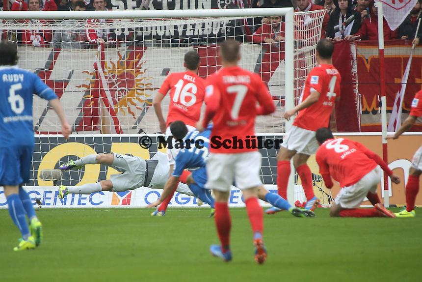 Kevin Volland (Hoffenheim) erzielt das 0:1- 1. FSV Mainz 05 vs. TSG 1899 Hoffenheim, Coface Arena, 8. Spieltag