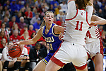 SIOUX FALLS, SD - MARCH 10: Tagyn Larson #24 of the South Dakota State Jackrabbits looks for room past the defense from South Dakota Coyotes during the women's championship game at the 2020 Summit League Basketball Tournament in Sioux Falls, SD. (Photo by Richard Carlson/Inertia)