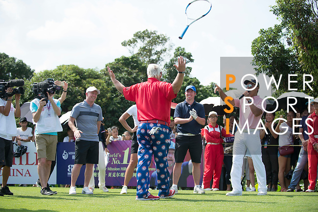 John Daly plays tennis at the 10th hole during the World Celebrity Pro-Am 2016 Mission Hills China Golf Tournament on 22 October 2016, in Haikou, China. Photo by Marcio Machado / Power Sport Images