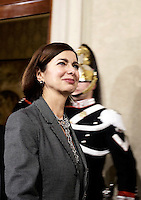 La presidente della Camera dei Deputati Laura Boldrini lascia il Quirinale al termine delle consultazioni sulla crisi di governo, a Roma, 8 dicembre 2016.<br /> Italian Chamber of Deputies' President Laura Boldrini leaves the Quirinale presidential palace at the end of the first day of consultations on government crisis, in Rome, 8 December 2016.<br /> UPDATE IMAGES PRESS/Riccardo De Luca