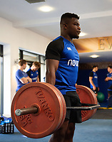 Levi Davis of Bath Rugby in the gym. Bath Rugby pre-season training on July 2, 2018 at Farleigh House in Bath, England. Photo by: Patrick Khachfe / Onside Images