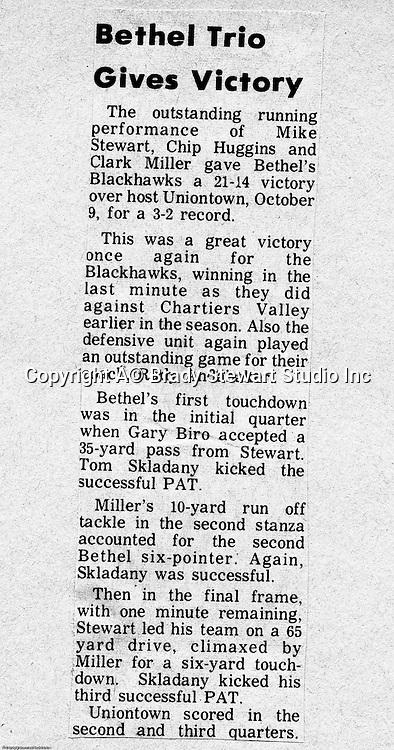 Bethel Park Blackhawks vs Uniontown Red Raiders - 1970