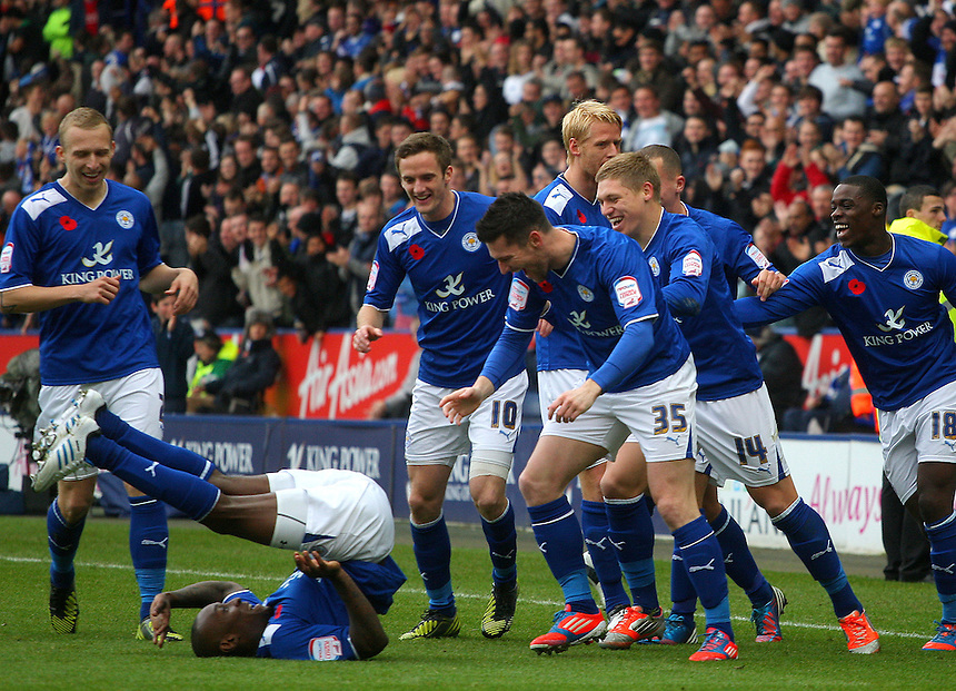 Leicester City's Lloyd Dyer celebrates scoring his sides first goal ..Football - npower Football League Championship - Leicester City v Nottingham Forest - Saturday 10th November 2012 - King Power Stadium - Leicester..