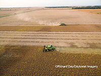63801-08916 Soybean Harvest, 2 John Deere combines harvesting soybeans - aerial - Marion Co. IL