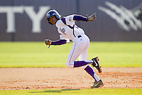 Willie Medina (3) of the High Point Panthers takes off for second base against the Ohio Bobcats at Willard Stadium on March 6, 2013 in High Point, North Carolina.  The Panthers defeated the Bobcats 4-1.  (Brian Westerholt/Four Seam Images)