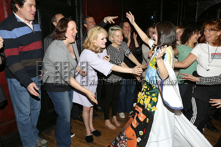 Merwin Foard, Gayle Rankin, Michelle Williams, Andrea Gross and Company  during the Broadway Opening Night Gypsy Robe Ceremony honoring Andrea Goss for 'Cabaret' at Studio 54 on April 24, 2014 in New York City.