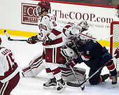 Clay Anderson (Harvard - 5), Merrick Madsen (Harvard - 31), Quinn Hughes (NTDP - 6) - The Harvard University Crimson defeated the US National Team Development Program's Under-18 team 5-2 on Saturday, October 8, 2016, at the Bright-Landry Hockey Center in Boston, Massachusetts.