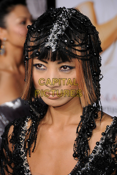 "BAI LING.""What Happens in Vegas"" Los Angeles Premiere at Mann's Village Theatre, Westwood, California, USA..May 1st, 2008.headshot portrait black hat beads beaded .CAP/ADM/BP.©Byron Purvis/AdMedia/Capital Pictures."