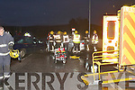 Emergency servics and paramedics swiftly attend the horrific 3 car crash at the notoriously dangerous Skehanah cross on the Castlemaine road on the outskirts of Tralee last Friday evening in which the driver of one of the cars was critical injured,just two days after another crash one mile further out on the same road in which another man was seriously hurt after his vehical collided with a lorry..----------------------------------------------------------   Copyright Kerry's Eye 2008