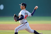 Pitcher Zach Quintana (46) of the Rome Braves delivers a pitch in a game against the Greenville Drive on Friday, June 12, 2015, at Fluor Field at the West End in Greenville, South Carolina. Greenville won, 10-8. (Tom Priddy/Four Seam Images)