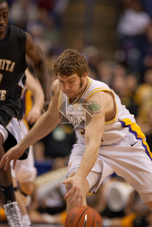 March 7,  2010          Northern Iowa forward Lucas O'Rear (32) grabs for a loose ball in the second half.   The University of Northern Iowa defeated Wichita State 67-52 on Sunday March 7, 2010 in the championship game of the Missouri Valley Conference Tournament at the Scottrade Center in downtown St. Louis.   They automatically earn a berth in the NCAA Tournament.