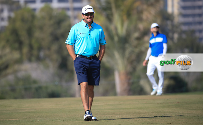 Graeme McDowell (NIR) in shorts during the Pro-Am at the 2016 Omega Dubai Desert Classic, played on the Emirates Golf Club, Dubai, United Arab Emirates.  03/02/2016. Picture: Golffile | David Lloyd<br /> <br /> All photos usage must carry mandatory copyright credit (&copy; Golffile | David Lloyd)