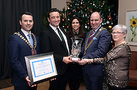 Sean O'Driscoll presents John and Mary Concannon with the SKAL Leader in Tourism Award for his work on the 1916 Commemoration Project throughout Ireland at the annual SKAL dinner in The Brehon Hotel. Also in photo are Brian Bowler, President, SKAL Kerry and Nora Cronin, President, SKAL Cork. At back, KellyAnn O'Connor, Bridget O'Connell, Sinead McCarthy, Terence Mulcahy, Derry Cronin, ITOA,  Brian Bowler, President, SKAL Killarney, Mary Concannon, Conor Hennigan, Geraldine Rosney, Stacey Williams, Sabrina Horgan, Mike Rosney and Danny McClure. <br /> Photo: Don MacMonagle<br /> <br /> Repro free photo