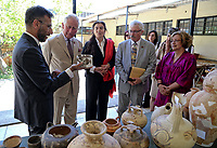 Pictured: Prince Charles is being shown replicas of some of the exhibits by museum officials and Culture Minister Lydia Koniordou at Knossos on the island of Crete, Greece. Friday 11 May 2018 <br /> Re:HRH Prnce Charles and his wife the Duchess of Cornwall visit the ancient site of Knossos near Heraklion, Greece.