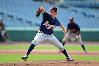 Mac Marshall (19) of Parkview High School in Lilburn, Georgia playing for the Atlanta Braves scout team during the East Coast Pro Showcase on August 2, 2013 at NBT Bank Stadium in Syracuse, New York.  (Mike Janes/Four Seam Images)