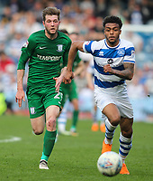 Preston North End's Tom Barkhuizen chases down Queens Park Rangers' Darnell Furlong<br /> <br /> Photographer Andrew Kearns/CameraSport<br /> <br /> The EFL Sky Bet Championship - Queens Park Rangers v Preston North End - Loftus Road - London<br /> <br /> World Copyright &copy; 2018 CameraSport. All rights reserved. 43 Linden Ave. Countesthorpe. Leicester. England. LE8 5PG - Tel: +44 (0) 116 277 4147 - admin@camerasport.com - www.camerasport.com