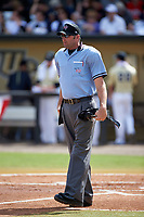 Umpire Travis Carlson during a UCF Knights game against the Siena Saints on February 21, 2016 at Jay Bergman Field in Orlando, Florida.  UCF defeated Siena 11-2.  (Mike Janes/Four Seam Images)