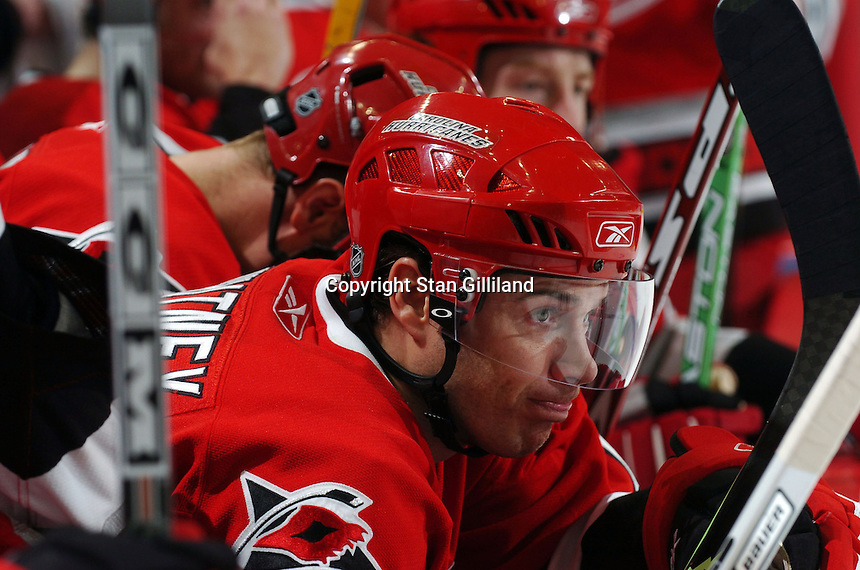 Carolina Hurricanes' Ray Whitney contemplates on the bench during a game with the Boston Bruins at the RBC Center in Raleigh, NC Wednesday, March 1, 2006. The Hurricanes won 4-3...