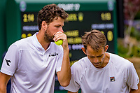 London, England, 8 July, 2019, Tennis,  Wimbledon, Men's doubles Robin Haase (NED) and Frederik Nielsen (DEN) (R)<br /> Photo: Henk Koster/tennisimages.com