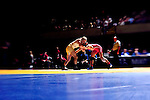 12 MAR 2011: Brandon Gauthier of Rhode Island College takes on Dave Golagivanni of SUNY Courtland in the 125 lbs early rounds of competition during the Division III Men's Wrestling Championship held at the La Crosse Center in La Crosse Wisconsin. Stephen Nowland/NCAA Photos