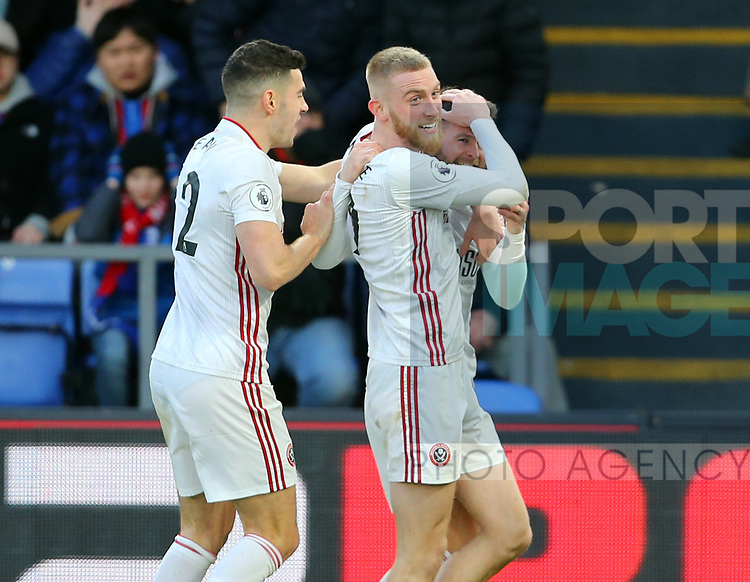 Oli McBurnie of Sheffield Utd celebrates with scorer Oliver Norwood of Sheffield Utd during the Premier League match at Selhurst Park, London. Picture date: 1st February 2020. Picture credit should read: Paul Terry/Sportimage