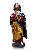 Gothic wooden statue of Sant Joan Evangelista (John the Evangelist) from Gremany, circa 1500, tempera and gold leaf on wood.  National Museum of Catalan Art, Barcelona, Spain, inv no: MNAC  64114. Against a white background.