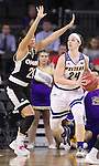 SIOUX FALLS, SD: MARCH 6: Taylor Higginbotham #24 of Western Illinois looks past Omaha defender Abi Lujan #21 during the Summit League Basketball Championship on March 6, 2017 at the Denny Sanford Premier Center in Sioux Falls, SD. (Photo by Dick Carlson/Inertia)