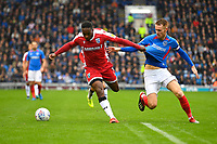Brandon Hanlan of Gillingham and Tom Naylor of Portsmouth vie for the ball during Portsmouth vs Gillingham, Sky Bet EFL League 1 Football at Fratton Park on 12th October 2019