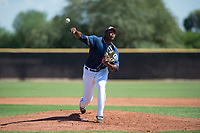 San Diego Padres relief pitcher Dauris Valdez (93) delivers a pitch during an Instructional League game against the Milwaukee Brewers at Peoria Sports Complex on September 21, 2018 in Peoria, Arizona. (Zachary Lucy/Four Seam Images)