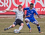 San Jose Earthquakes #22 Tommy Thompsom and Reno 1868 FC's #4 Jordan Murrell go for a lose ball during thier Inaugural Friendly soccer match at Greater Nevada field in downtown Reno on Saturday, February 18, 2017.