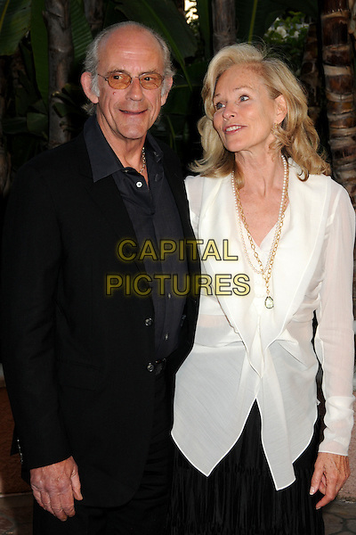 CHRISTOPHER LLOYD & BRENDA SIEMER-SCHEIDER .Smiles from the Stars: A Tribute to Roy Scheider held at the Beverly Hills Hotel, Beverly Hills, CA., USA..April 4th, 2009.half length white sheer shirt blouse gold necklace black jacket tinted glasses .CAP/ADM/BP.©Byron Purvis/AdMedia/Capital Pictures.